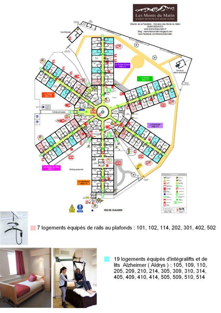 Un établissement très bien doté en aide technique : 7 logements équipés de rails au plafond et 19 logements équipés d'intégralifts